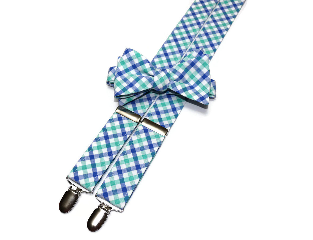 Green & Blue Seersucker Plaid Suspenders - Mens