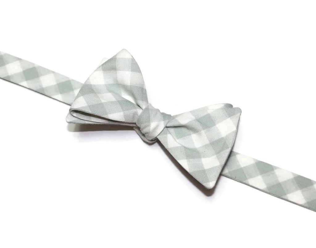 Desert Green Gingham Check Bow Tie