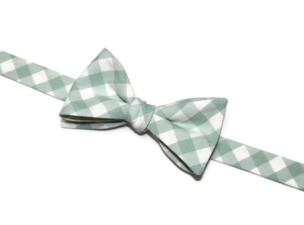 Sage Gingham Check Bow Tie