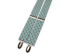 Kelly Green & Navy Tattersall Suspenders - Mens