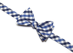 Navy & Blue Plaid Check Bow Tie