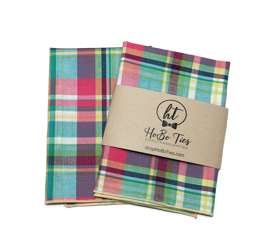 Easter Madras Plaid Pocket Square (Mens)
