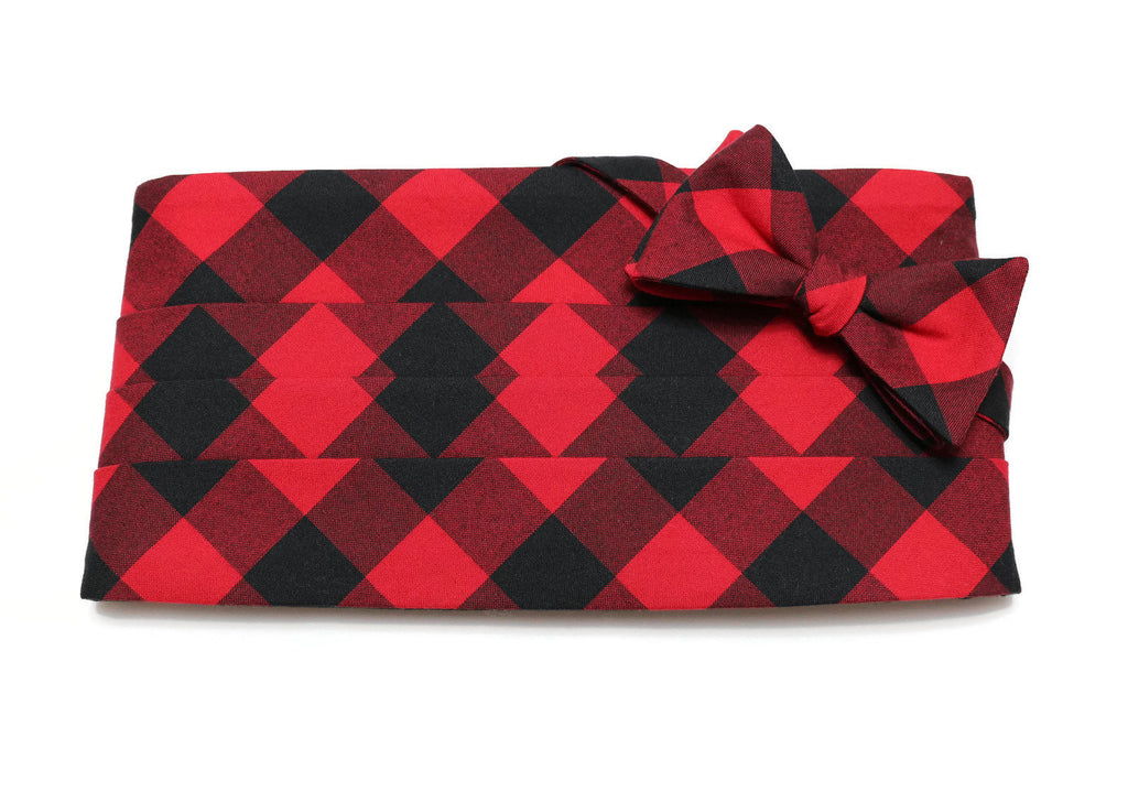 Red & Black Buffalo Plaid Cummerbund & Bow Tie