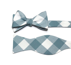 Dusty Blue Buffalo Plaid Cummerbund & Bow Tie