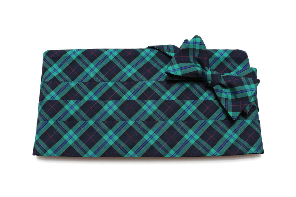 Navy, Green & Red Tartan Plaid Cummerbund & Bow Tie