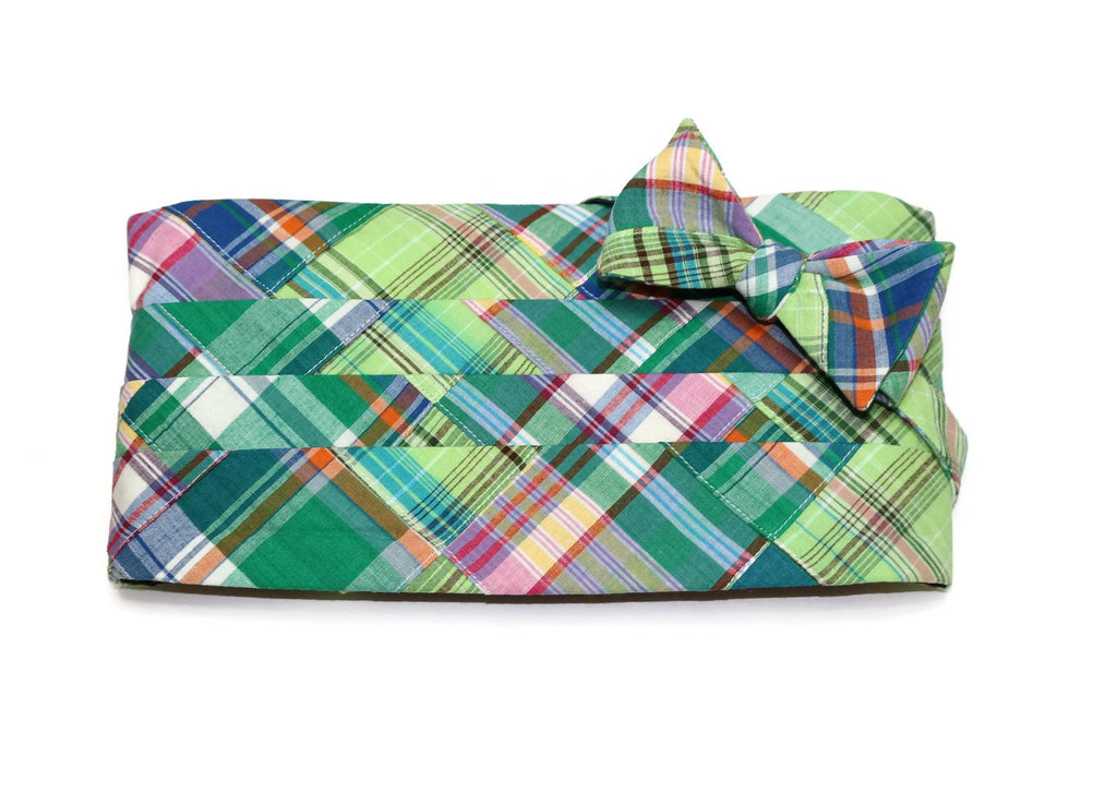 Green Madras Patchwork Plaid Cummerbund & Bow Tie