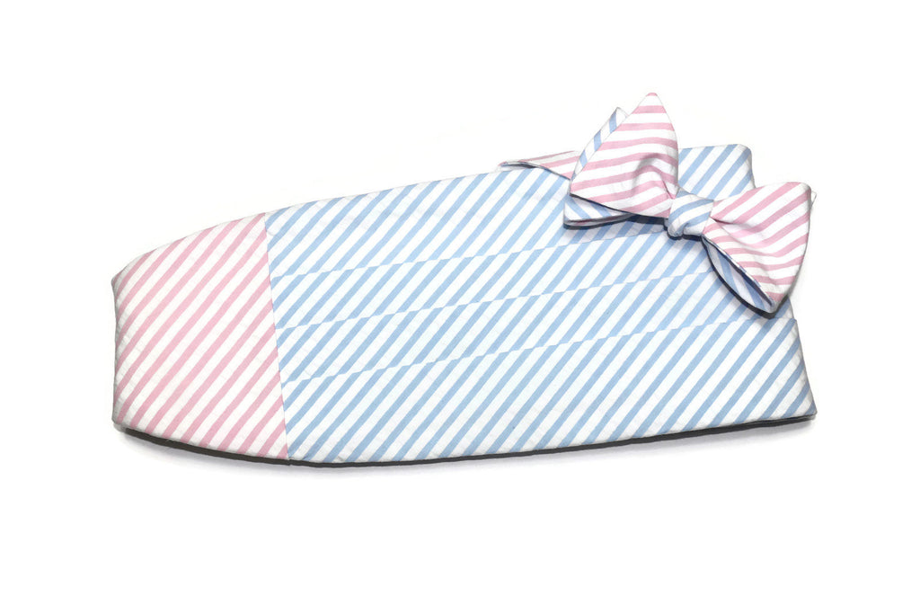 Pink & Light Blue Seersucker Cummerbund & Bow Tie