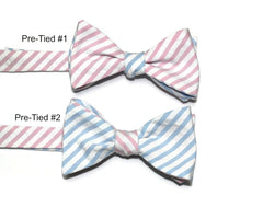 Light Blue & Pink Seersucker Cummerbund & Bow Tie