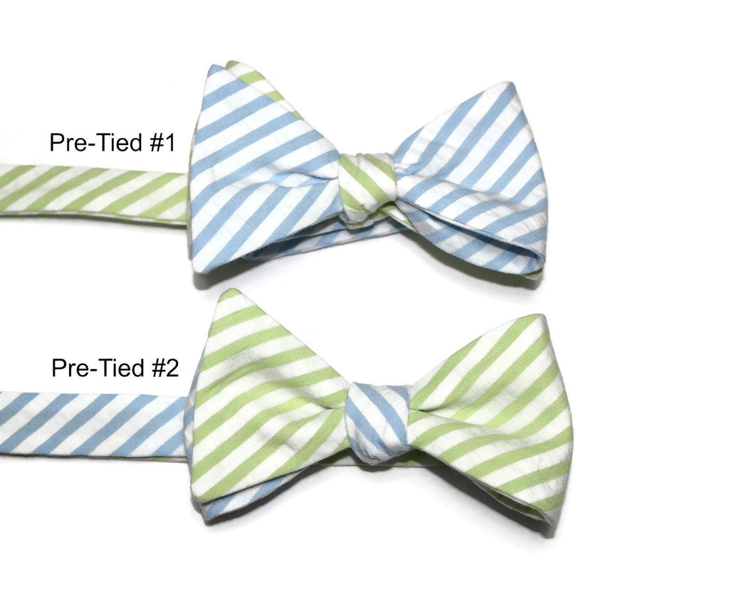 Lime & Light Blue Seersucker Cummerbund & Bow Tie