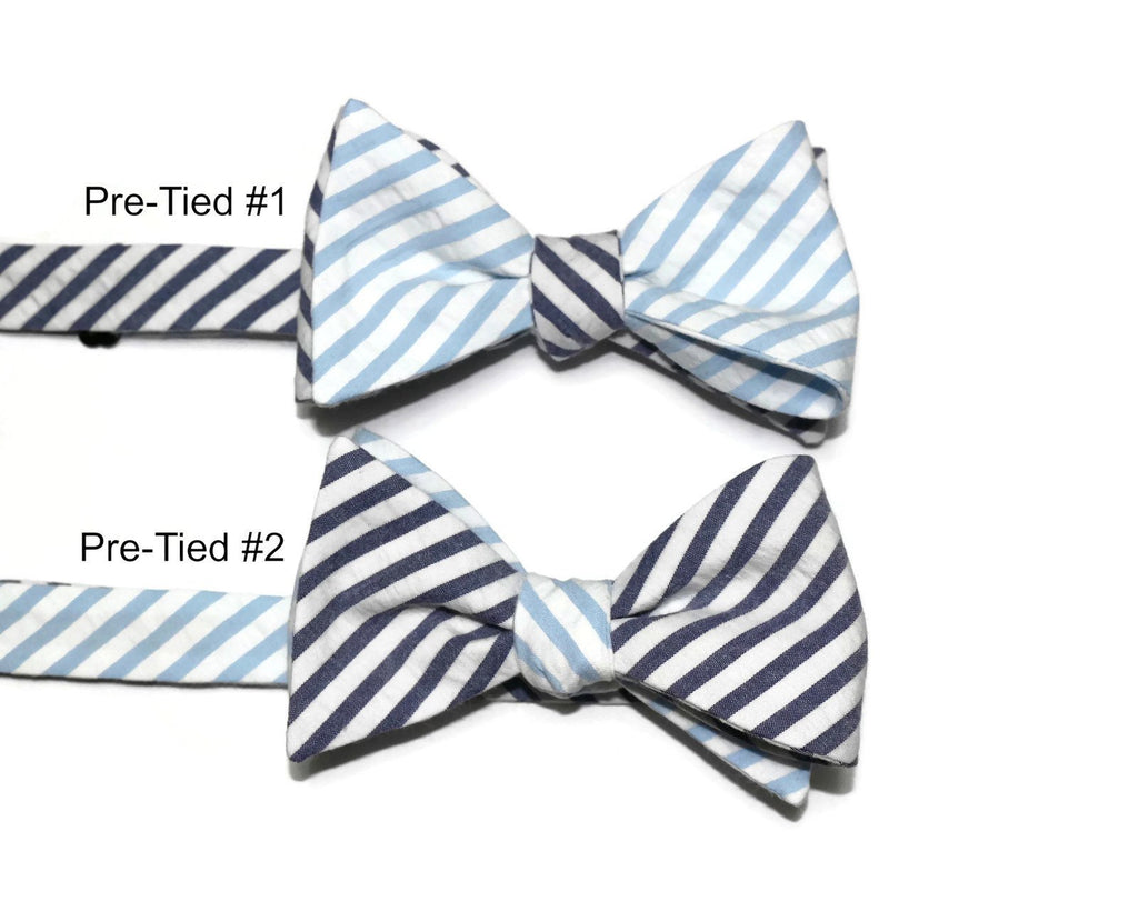 Navy & Light Blue Seersucker Cummerbund & Bow Tie