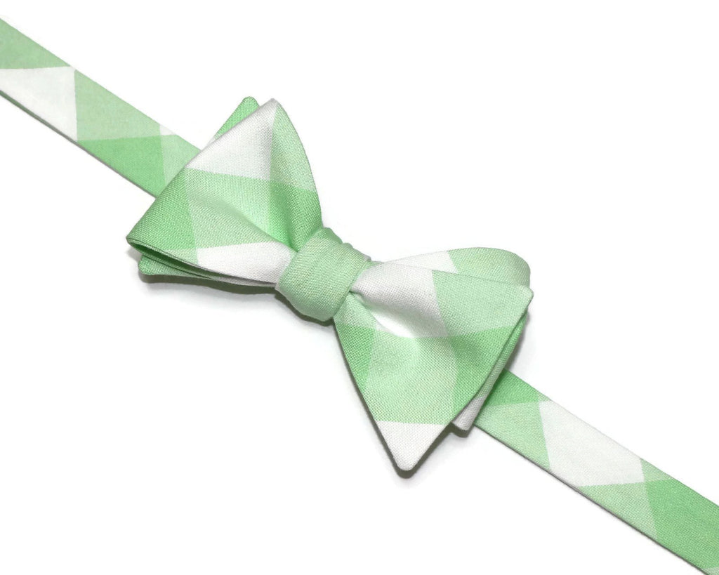 Mint Green Buffalo Plaid Bow Tie