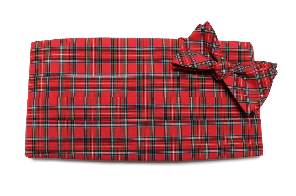 Red Tartan Plaid Cummerbund & Bow Tie