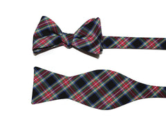 Black & Red Tartan Plaid Cummerbund & Bow Tie