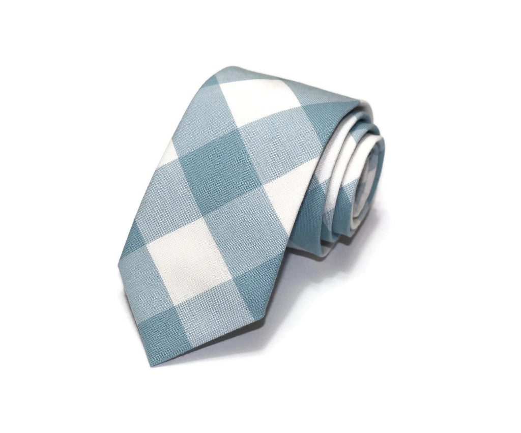 Dusty Blue Buffalo Plaid Necktie - Youth