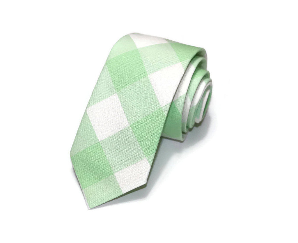 Mint Green Buffalo Plaid Necktie - Youth