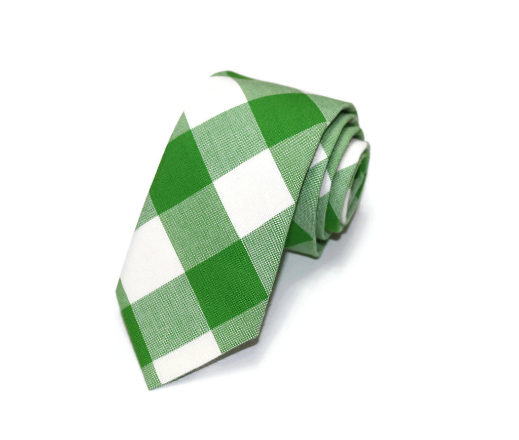 Kelly Green Buffalo Plaid Necktie - Youth