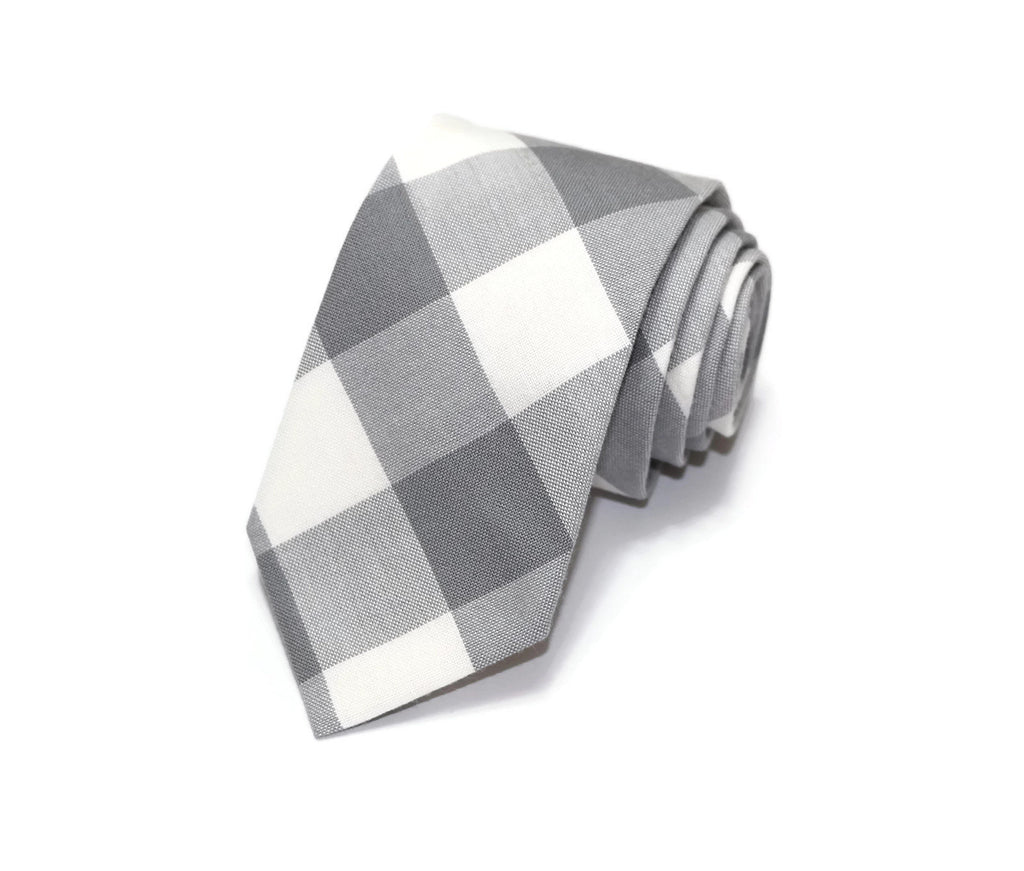 Gray Buffalo Plaid Necktie - Youth