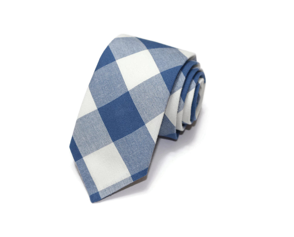 Denim Blue Buffalo Plaid Necktie - Youth