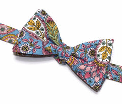 Pink & Blue Floral Paisley Bow Tie