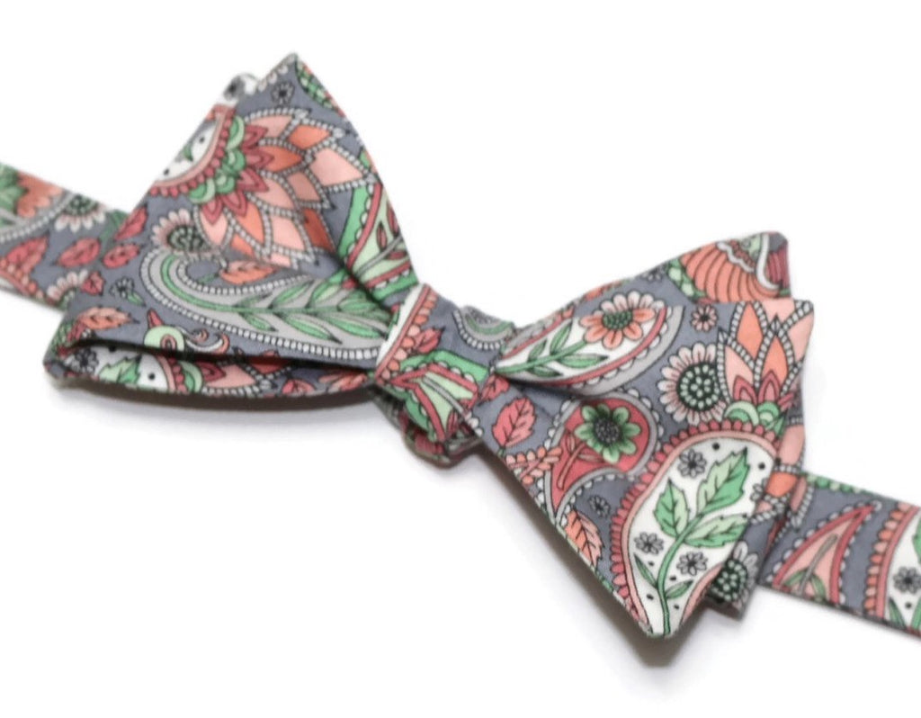 Blush & Gray Floral Paisley Bow Tie