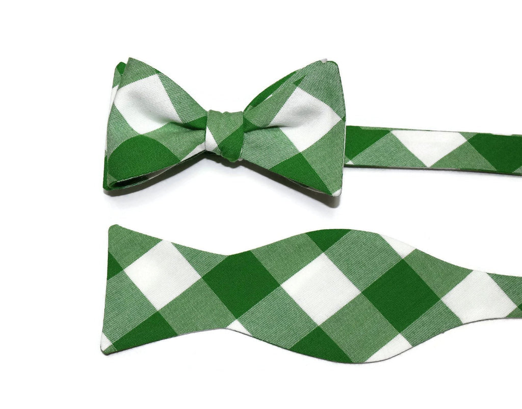 Kelly Green Buffalo Plaid Bow Tie