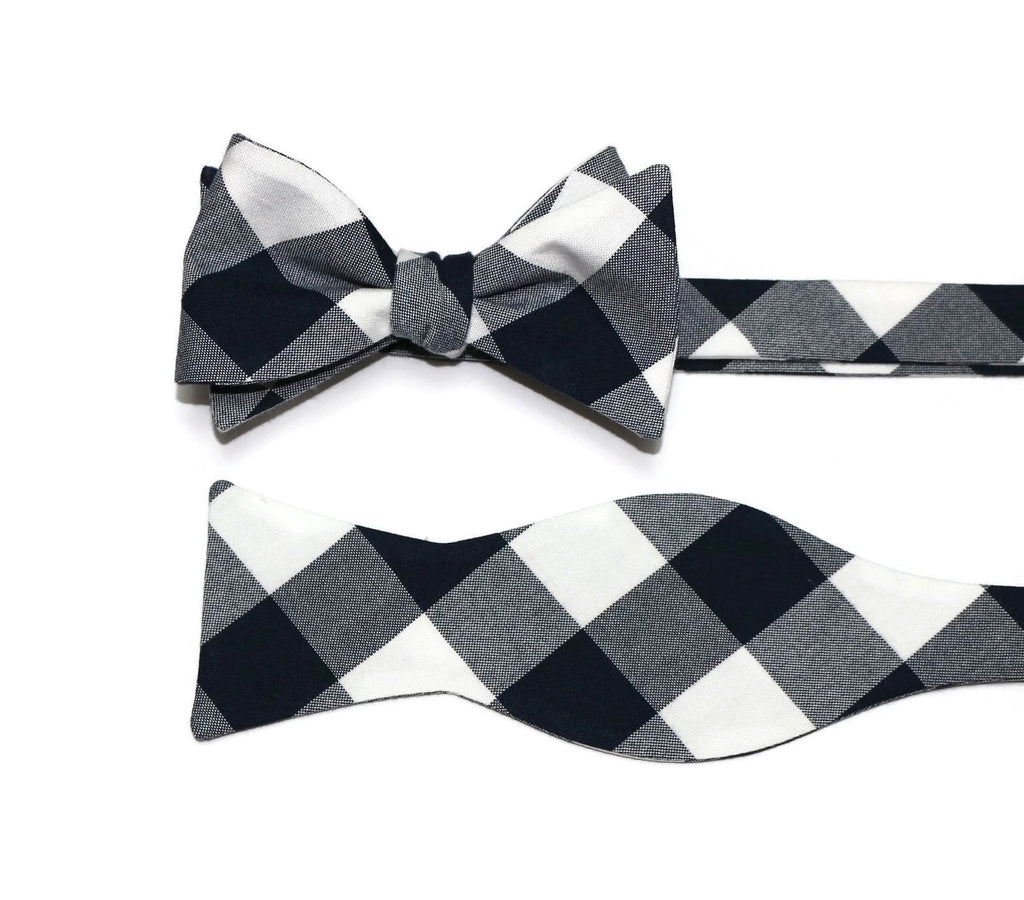 Navy Blue Buffalo Plaid Bow Tie