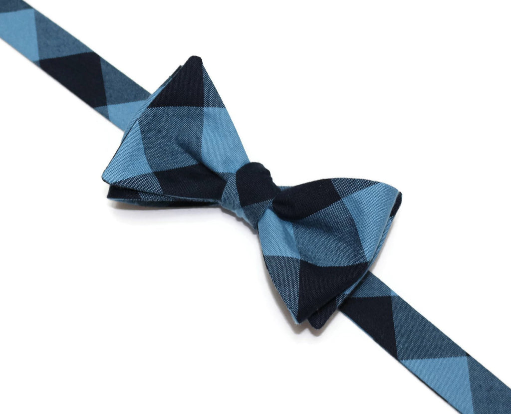 Indigo & Navy Buffalo Plaid Bow Tie