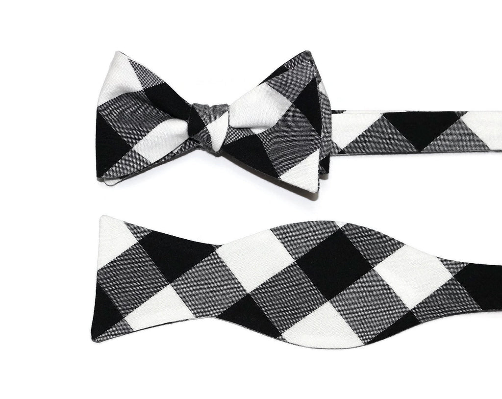 Black Buffalo Plaid Bow Tie