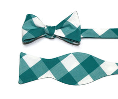 Jade Green Buffalo Plaid Cummerbund & Bow Tie