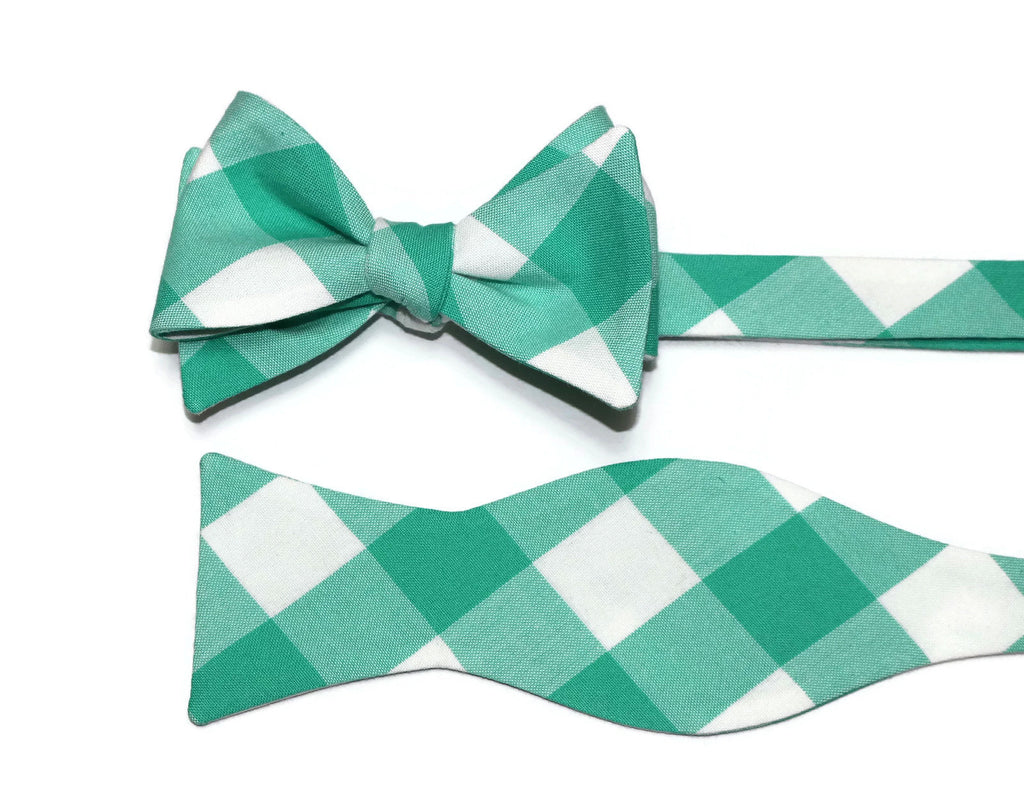 Seafoam Buffalo Plaid Bow Tie