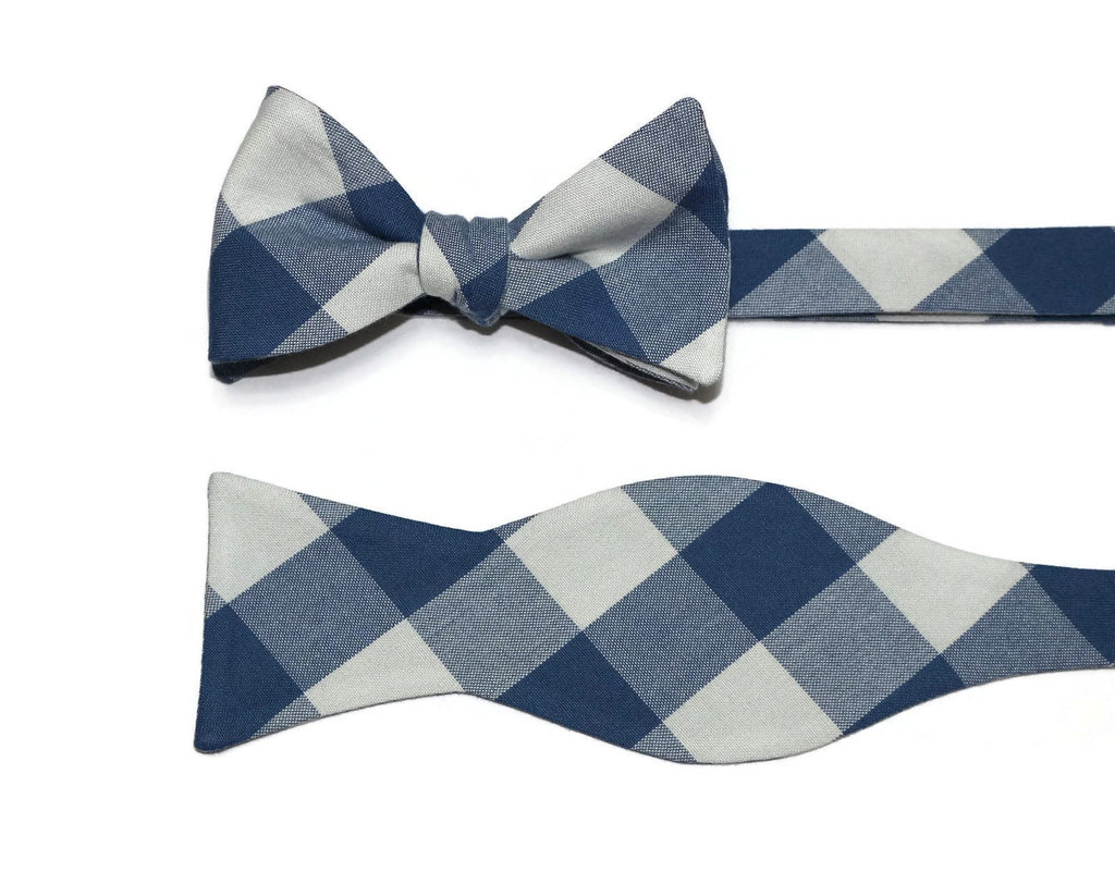 Denim Blue & Gray Buffalo Plaid Bow Tie