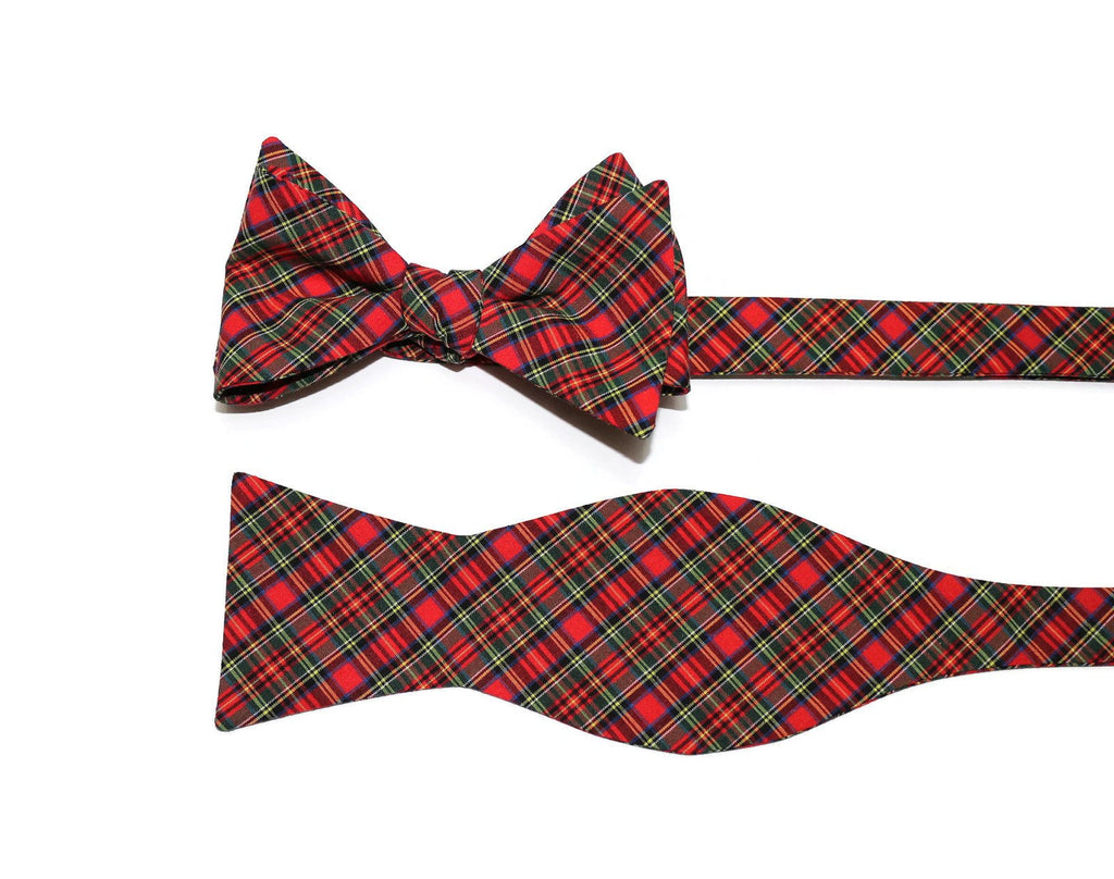 Red & Green Tartan Plaid Cummerbund & Bow Tie
