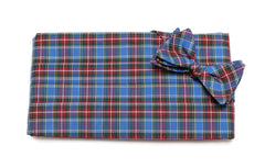 Royal Blue Tartan Plaid Cummerbund & Bow Tie