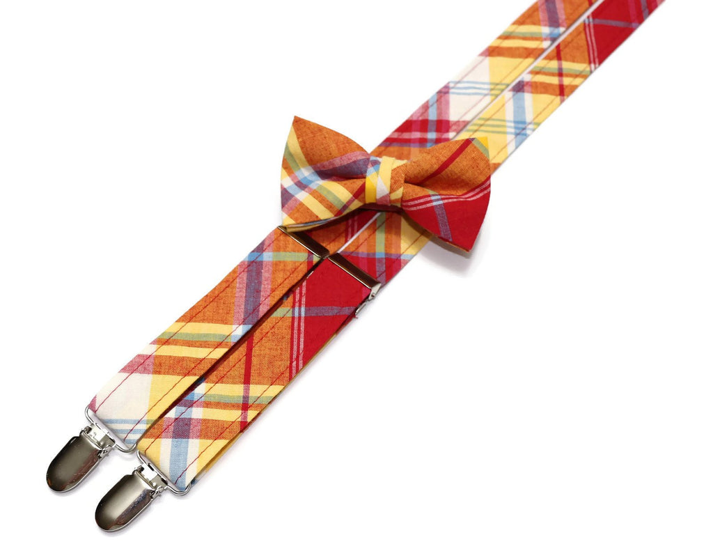 Red & Yellow Madras Plaid Suspenders - Boys