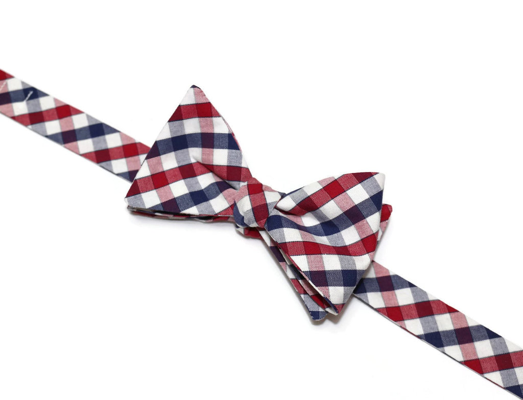 Navy & Red Plaid Check Bow Tie