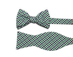 Kelly Green & Navy Tattersall Bow Tie