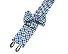 Navy & Blue Seersucker Plaid Suspenders - Mens
