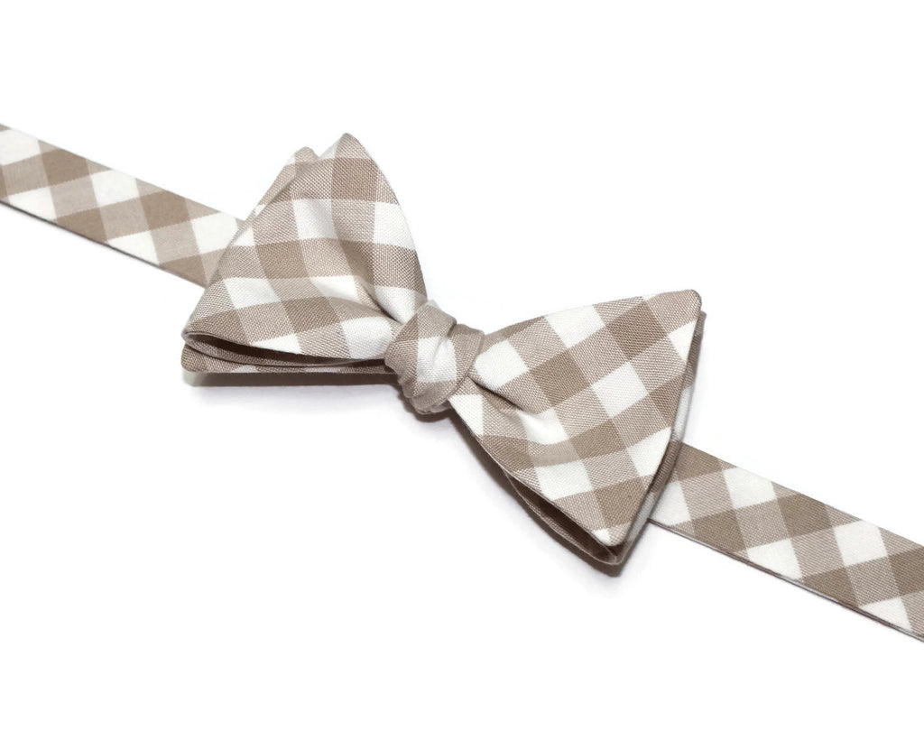 Doeskin Gingham Check Bow Tie