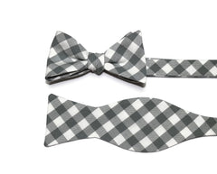 Shale Gingham Check Bow Tie