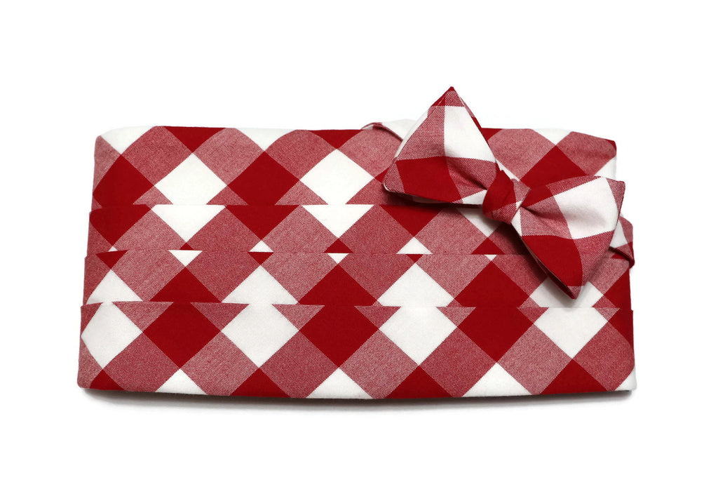 Red Buffalo Plaid Cummerbund & Bow Tie