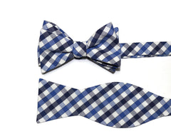 Navy & Blue Plaid Check Cummerbund & Bow Tie