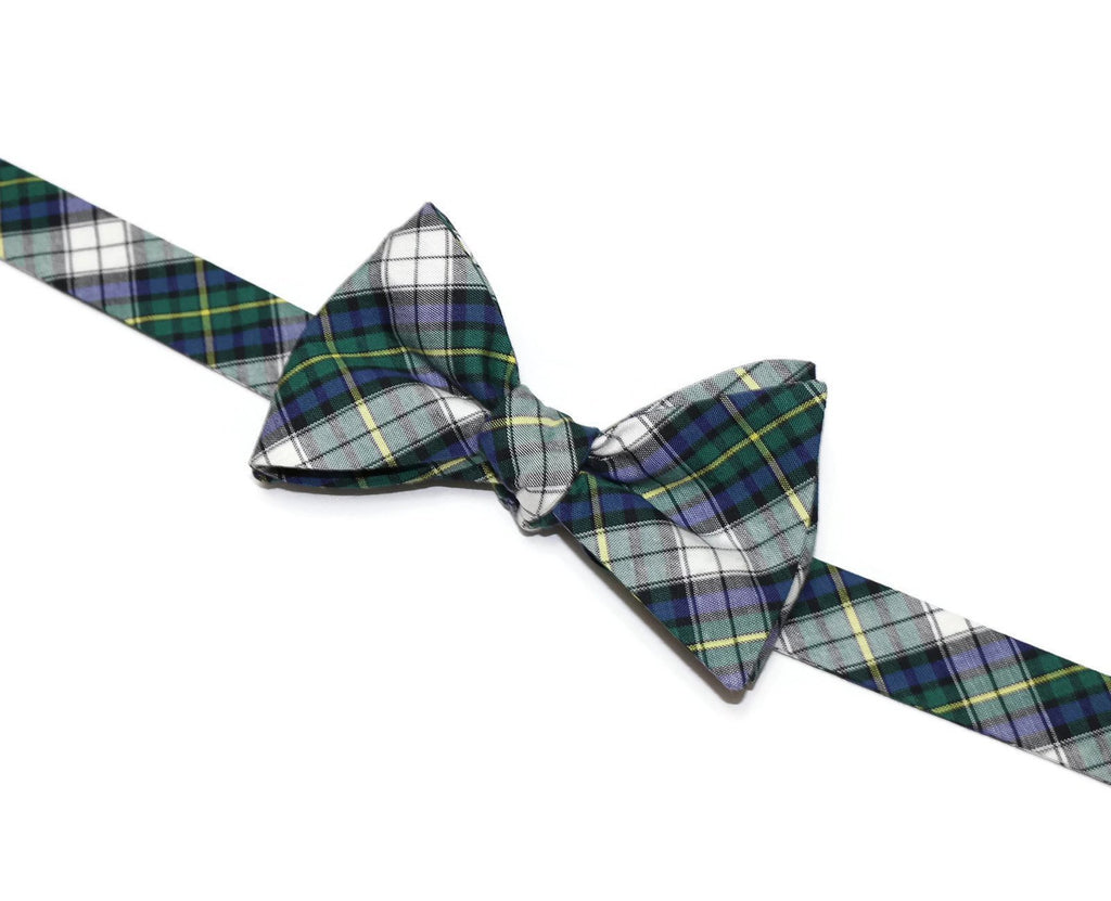 Kelly Green & Blue Tartan Plaid Bow Tie
