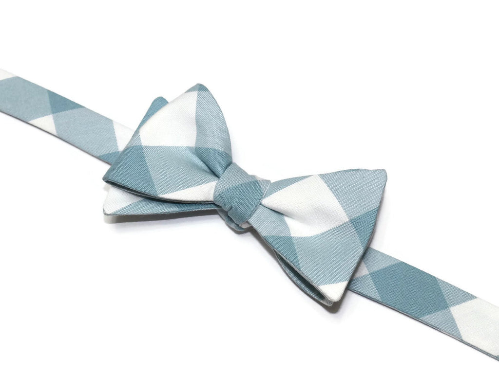Dusty Blue Buffalo Plaid Bow Tie