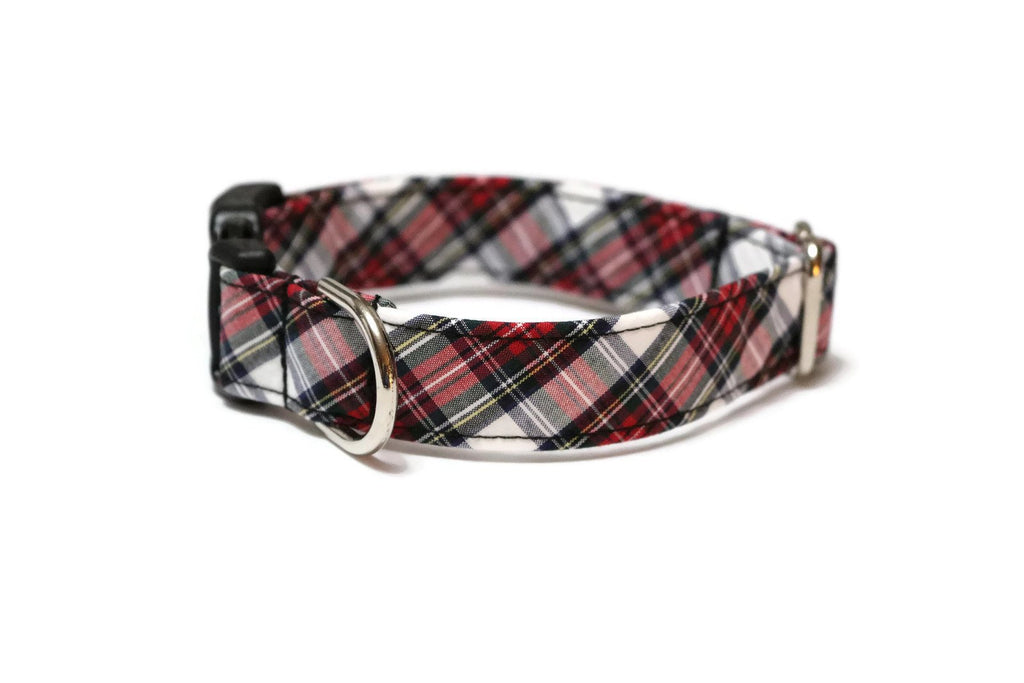 Red & White Tartan Plaid Dog Collar