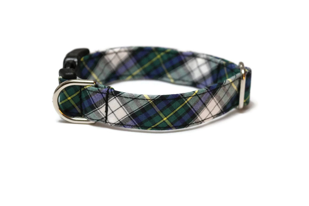 Kelly Green & Blue Tartan Plaid Dog Collar