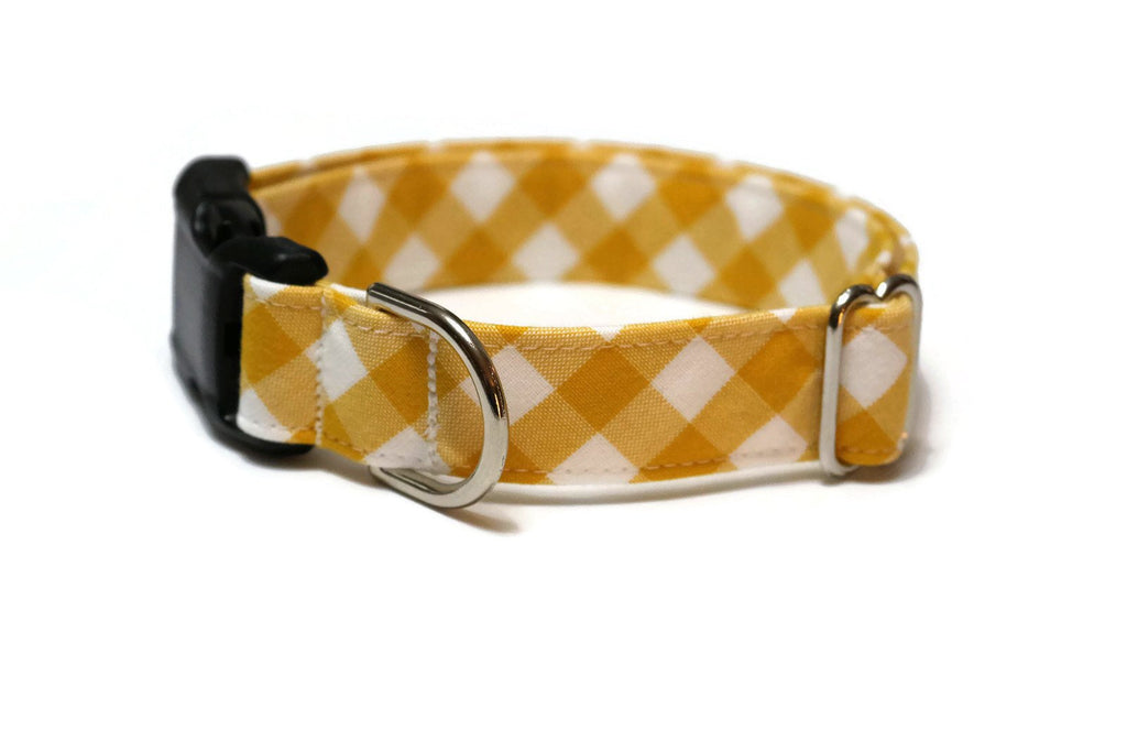 Grellow Gingham Check Dog Collar
