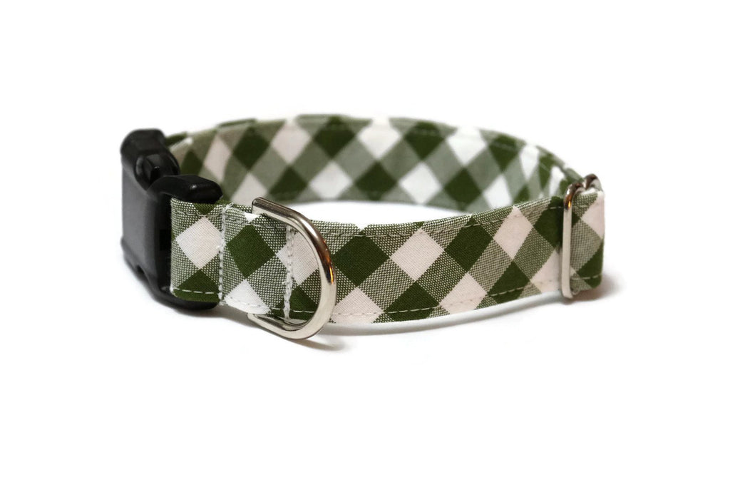 Avocado Gingham Check Dog Collar