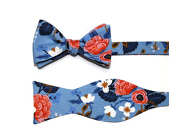 Blue & Pink Floral Bow Tie