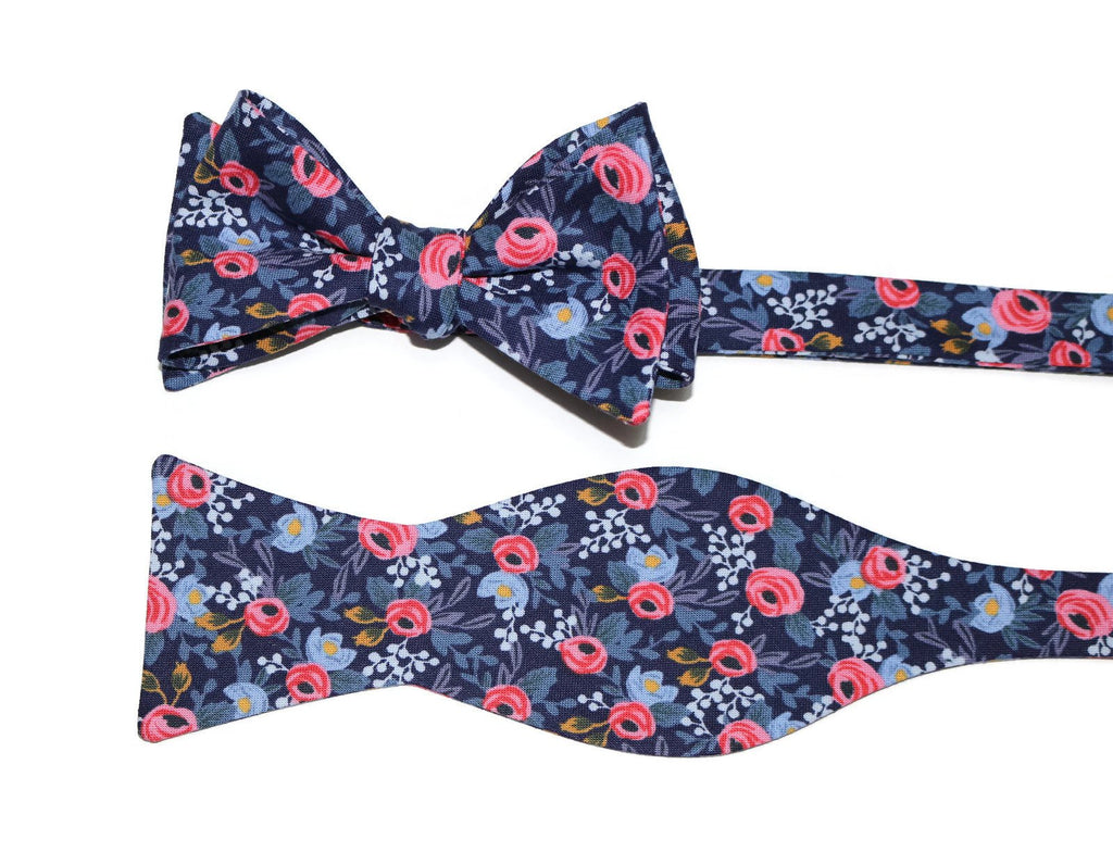 Navy & Pink Floral Bow Tie