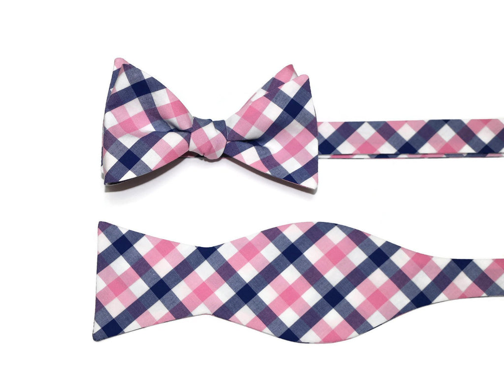 Pink & Blue Tattersall Bow Tie